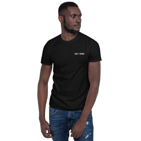 HE / HIM Embroidered T-Shirt - Black