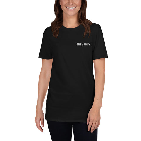 SHE / THEY Embroidered T-shirt - Black