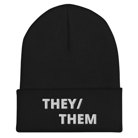 THEY/ THEM Cuffed Pronoun Beanie - Black