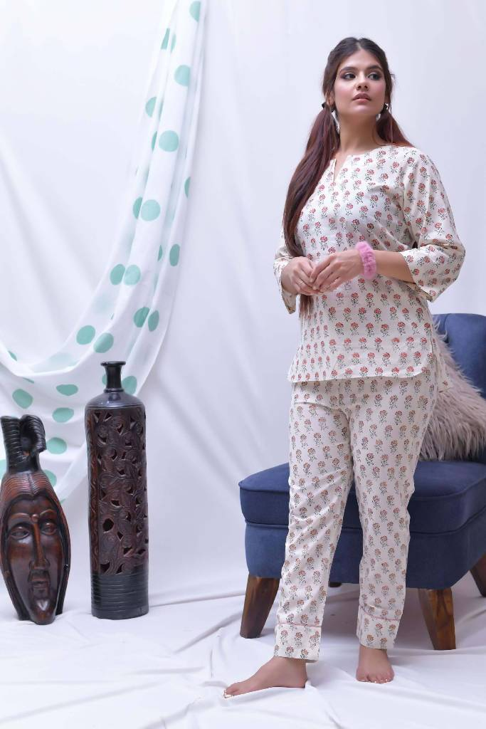 lounge wearpeach cream hand block printed loungewear set of 3 - Nuaah | An Indian Bazaar - lounge wear