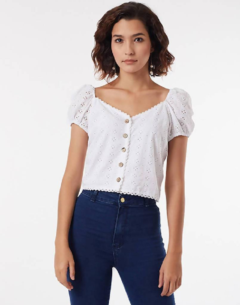 Buttoned Anglais Crop Top - Nuaah | An Indian Bazaar - CROP TOP