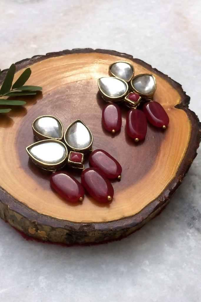 Red Stone and Kundan Dangler Earrings - Nuaah | An Indian Bazaar - Earrings