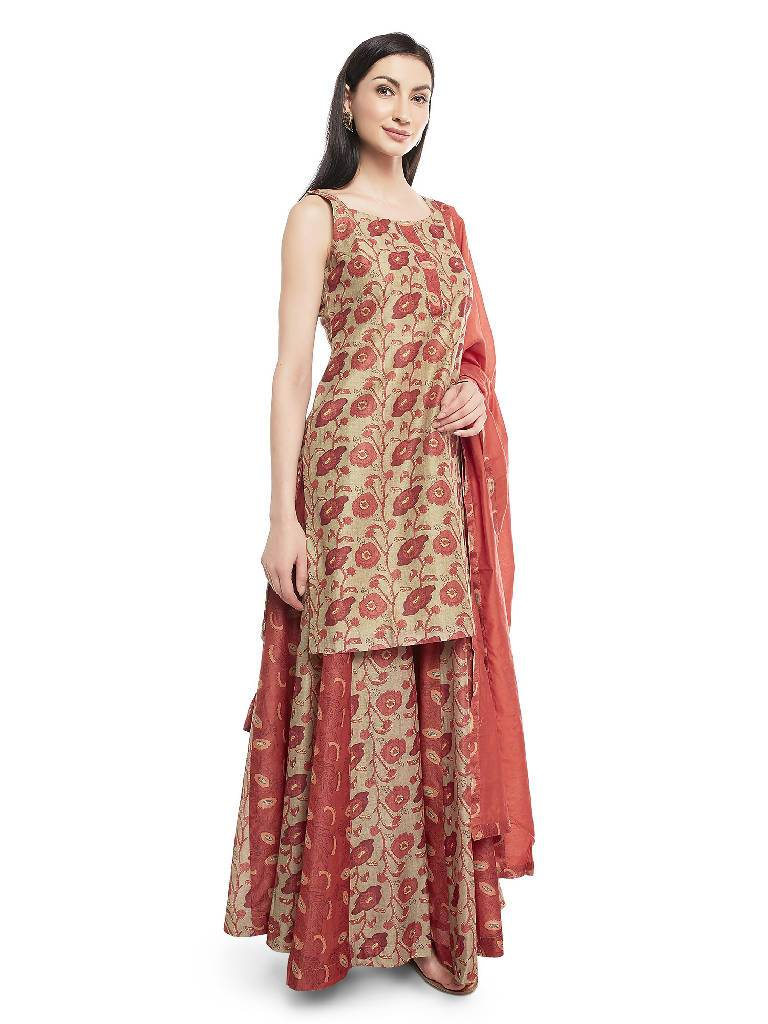 Raw Brick Chanderi Suit Set