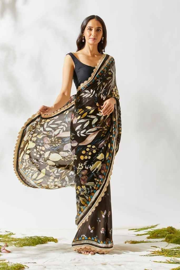 Deep Brown Jardin Print Saree - Nuaah | An Indian Bazaar - Saree