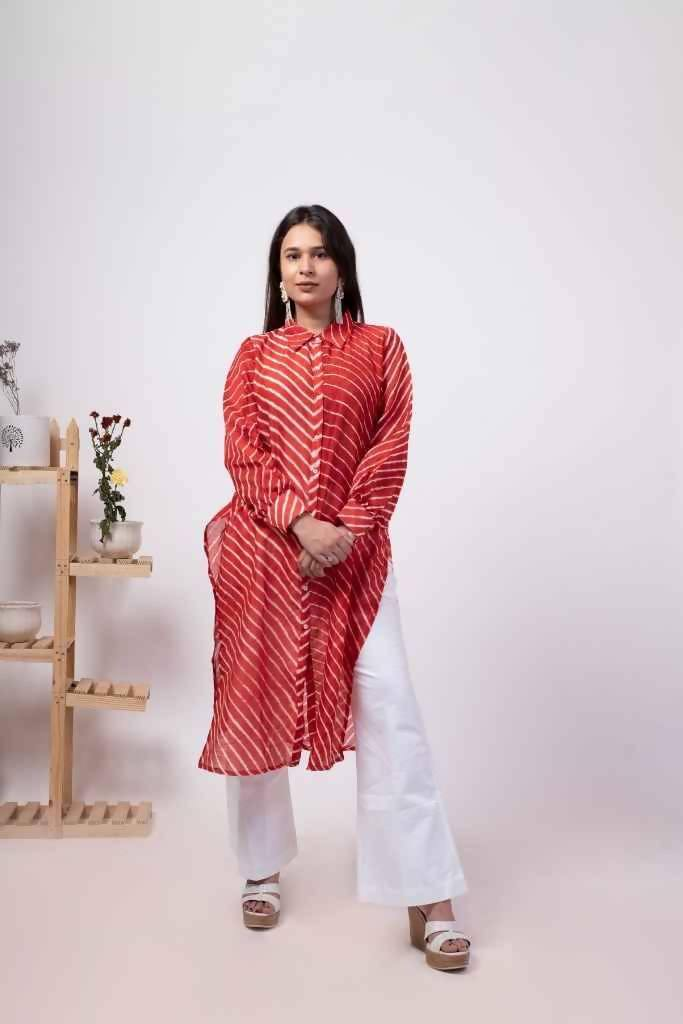Festive Red Leheriya Silk Chanderi Kurta And Palazzo Set - Nuaah | An Indian Bazaar - Kurta and Palazzo Set