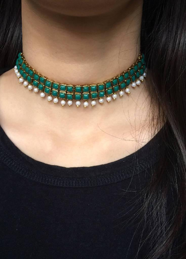 Green Resin Stone and Pearl Choker Necklace - Nuaah | An Indian Bazaar - Necklace
