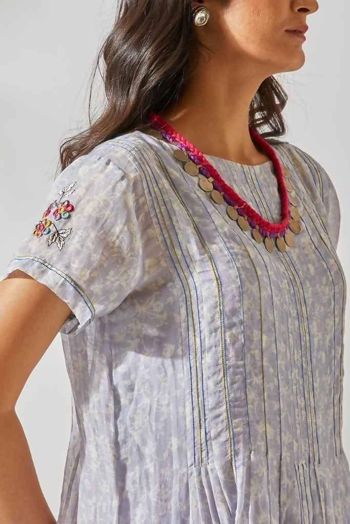 Mirror Work Flirty Pleats Tunic Set - Nuaah | An Indian Bazaar - Tunic Set