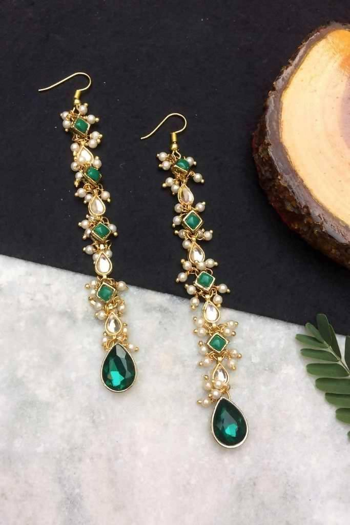 Green Kundan and Pearl Long Dangler Earrings - Nuaah | An Indian Bazaar - Earrings