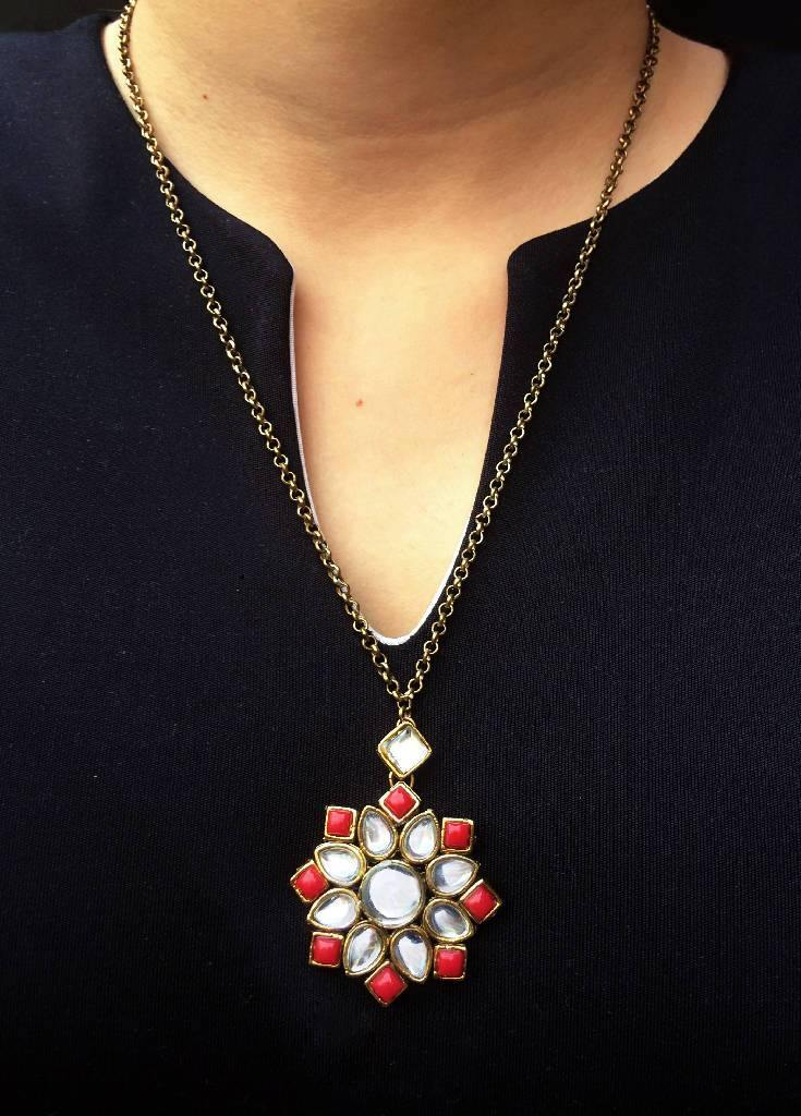 Kundan Pendant Red - Nuaah | An Indian Bazaar - Necklace