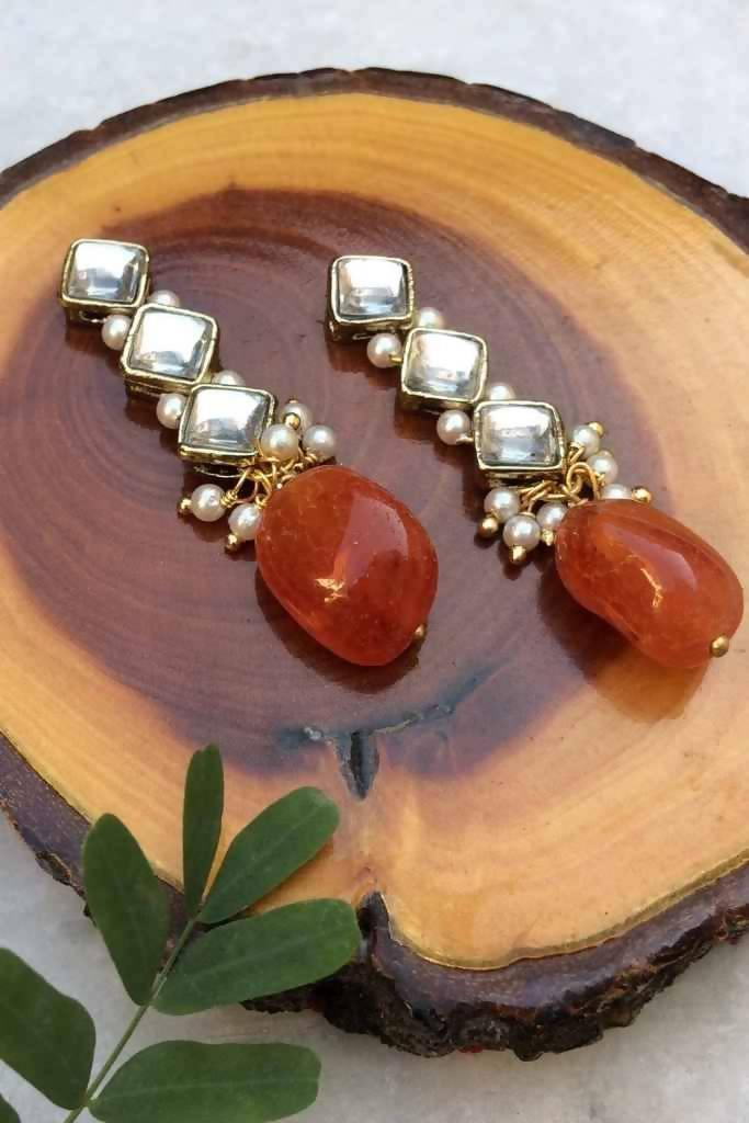 Carnelian and Kundan Dangler Earrings - Nuaah | An Indian Bazaar - Earrings