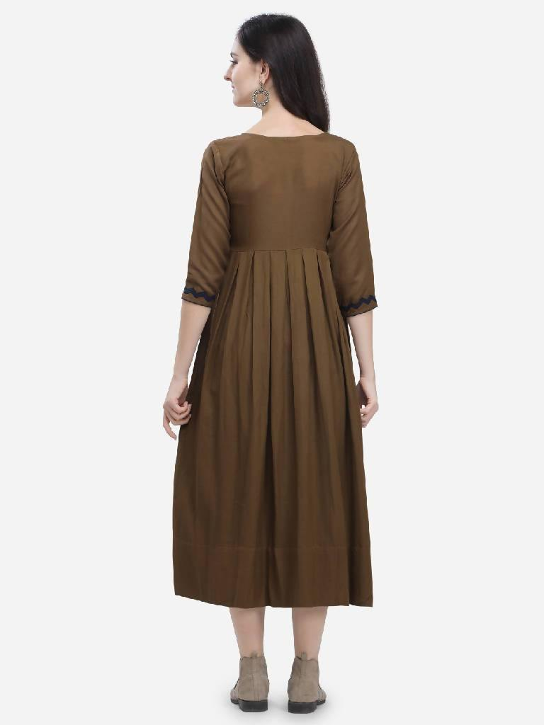 Cobble Brown Elu Dress - Nuaah | An Indian Bazaar - DRESS