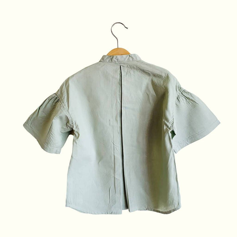 Grace Kurta Blouse (Green Grey) - Nuaah | An Indian Bazaar