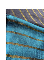 Zari Cashmere: Bubbly Blues - Nuaah | An Indian Bazaar - Striped Stole in Zari and Cashmere
