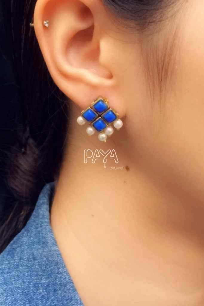 Dark Blue Resin Stone and Pearl Stud Earrings - Nuaah | An Indian Bazaar - Earrings