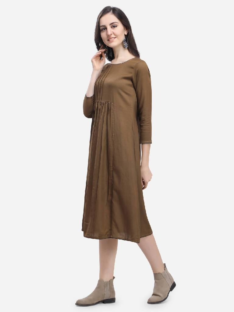 Cobble Brown Sayen Dress