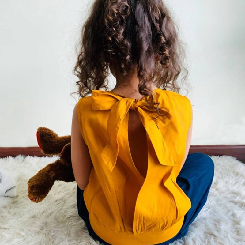 Emma Open Back Blouse (Mustard) - Nuaah | An Indian Bazaar - Kidswear