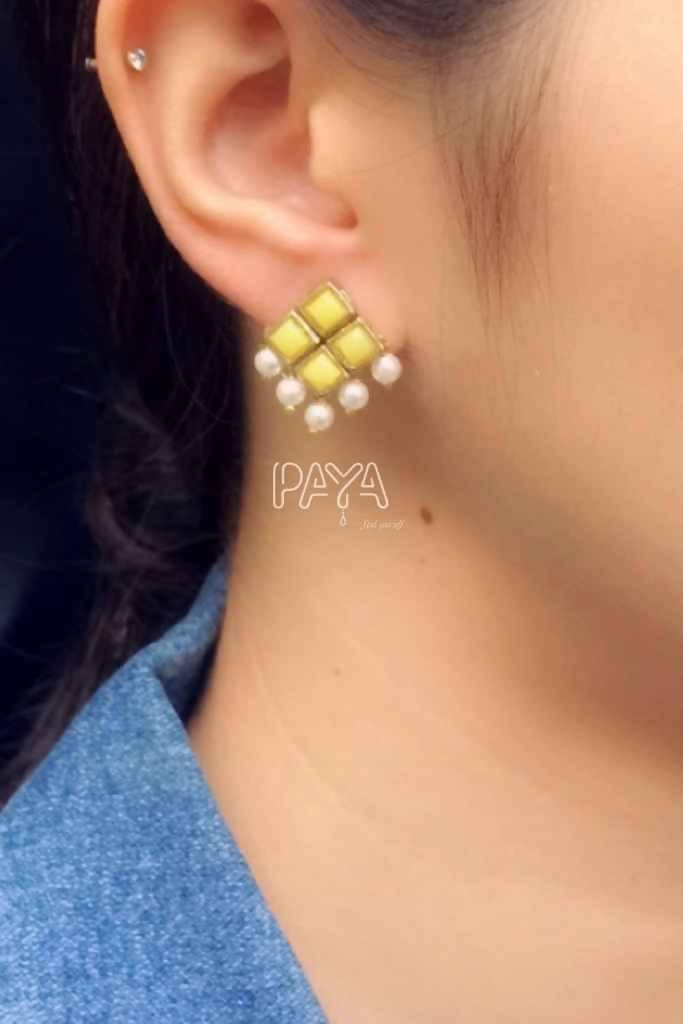 Yellow Resin Stone and Pearl Stud Earrings - Nuaah | An Indian Bazaar - Earrings