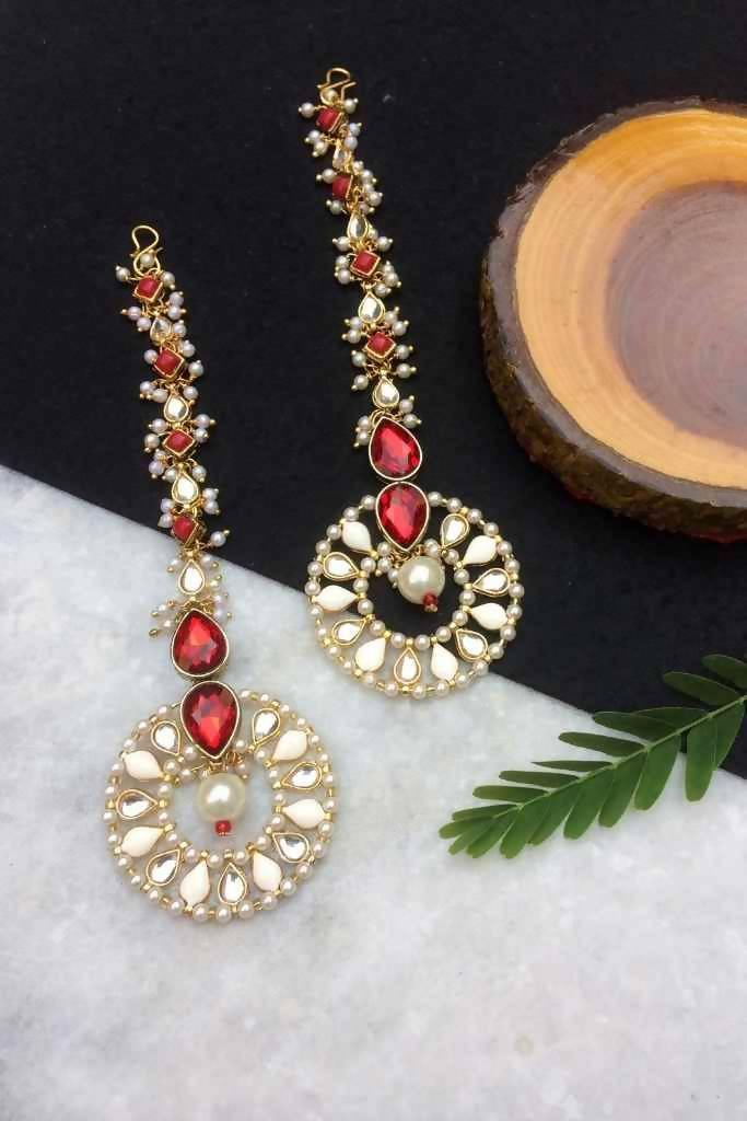 Red Kundan and Pearl Long Dangler Hoops - Nuaah | An Indian Bazaar - Earrings