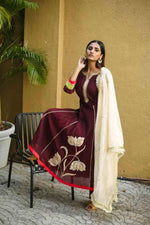 Antique Lotus Maroon Suit - Nuaah | An Indian Bazaar - Suit