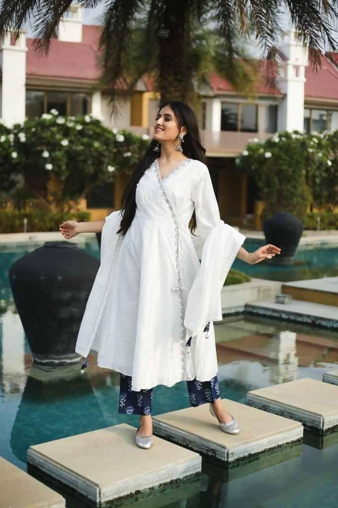 White Angarakha Suit - Nuaah | An Indian Bazaar - Suit