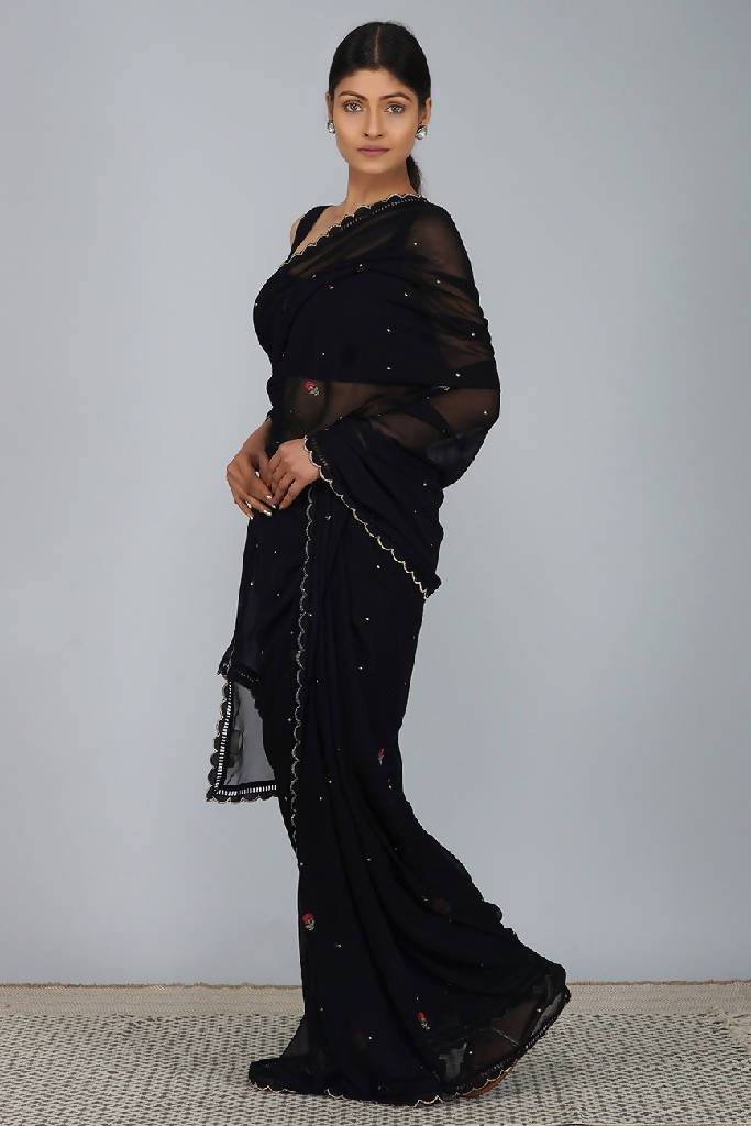 Multi Carnation Black Saree