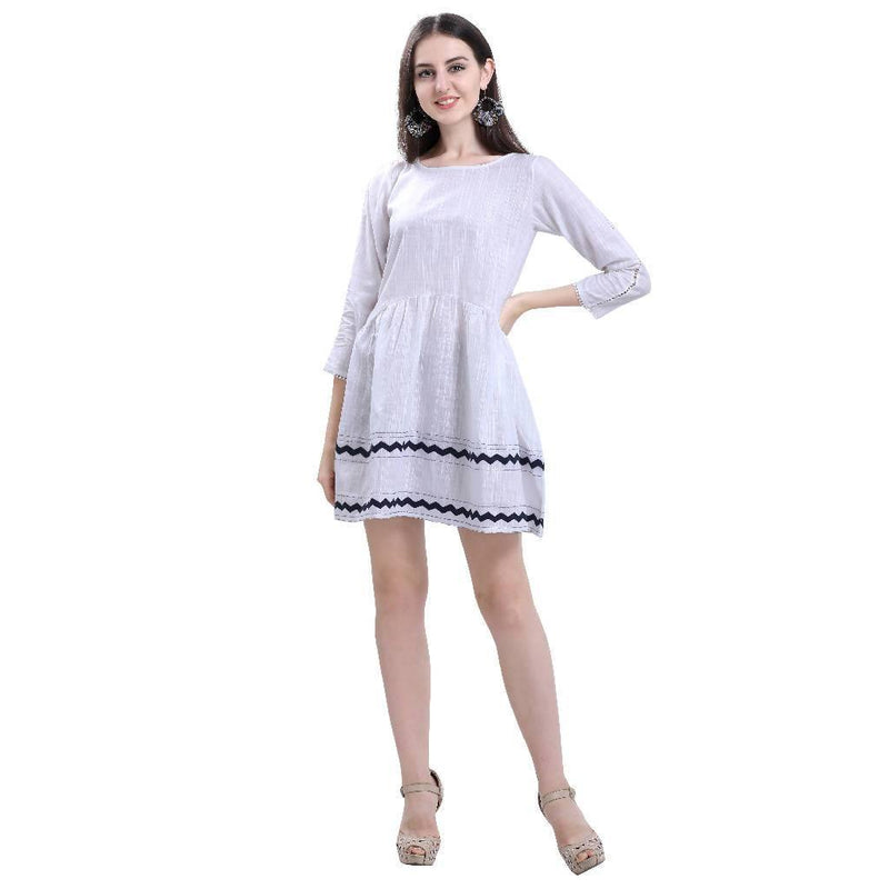Simply White Arc Dress - Nuaah | An Indian Bazaar - DRESS