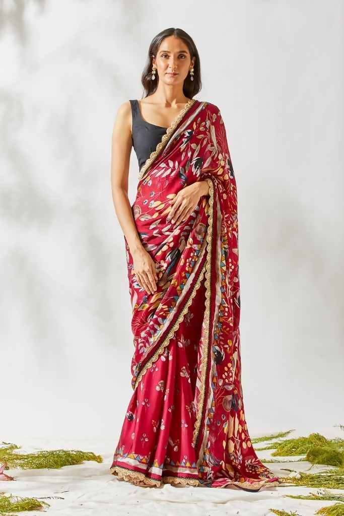 Berry Jardin Print Saree - Nuaah | An Indian Bazaar - Saree