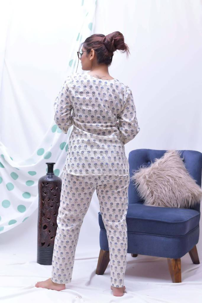 cream blue hand block printed loungewear set of 3 - Nuaah | An Indian Bazaar - lounge wear