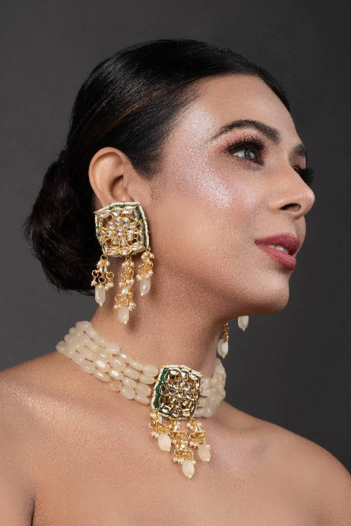 Cream Gold Tone Kundan Choker Set - Nuaah | An Indian Bazaar - NECKLACE SETS