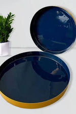 Metal Bar Serving Tray- Glossy Blue - Nuaah | An Indian Bazaar - SERVING TRAY