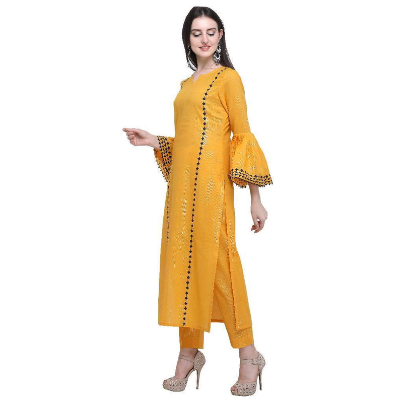 Gold Kameez With Flared Sleeves - Nuaah | An Indian Bazaar - KURTI