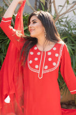 Sheer Red Suit Set - Nuaah | An Indian Bazaar - Suit Set