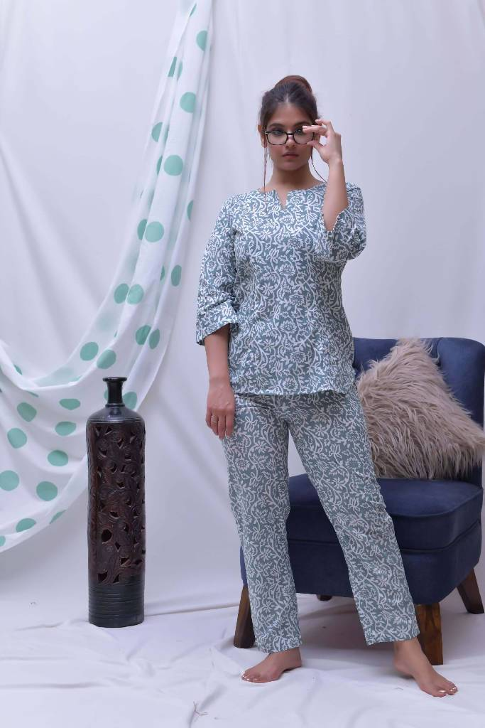 grey white hand block printed loungewear - Nuaah | An Indian Bazaar - lounge wear