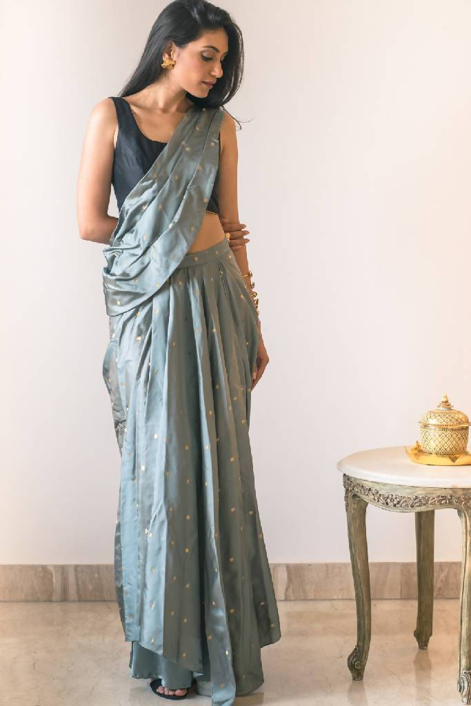 Brocade Drape Saree + Blouse - Nuaah | An Indian Bazaar - Draped saree + Blouse