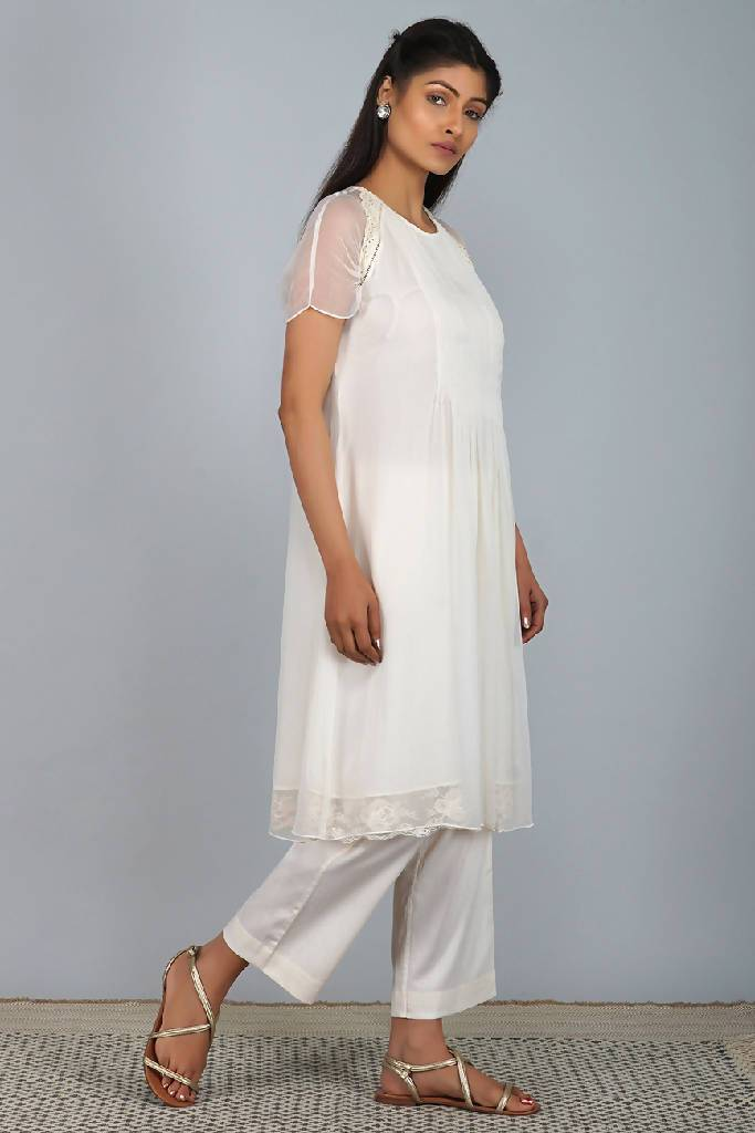 Flirty Pleats Raglan Ivory Tunic Set - Nuaah | An Indian Bazaar - Kurta, Pants