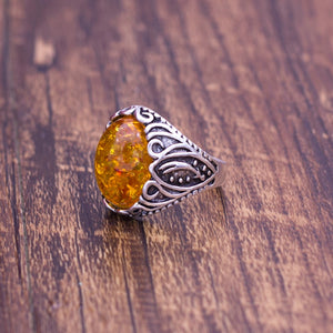 Vintage Big Stone Fire Ring - Size 7