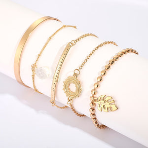 Tocona Fashion 5pcs/sets Bohemian Gold Bracelets