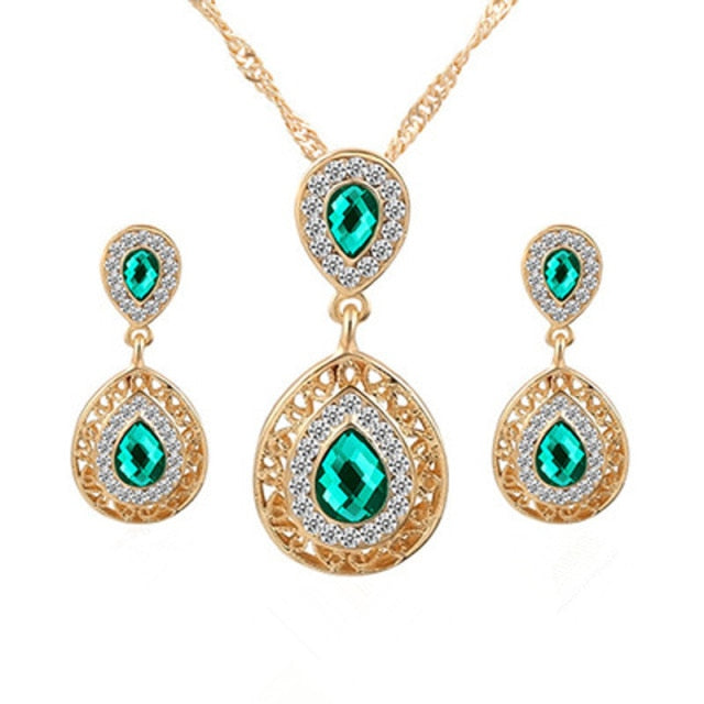 Emerald Princess Crystal Pendant Jewelry Gift Set