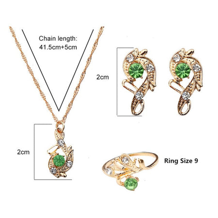 Lady Luck Crystal Pendant Jewelry Gift Set - style 4