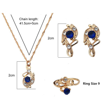 Lady Luck Crystal Pendant Jewelry Gift Set - style 3