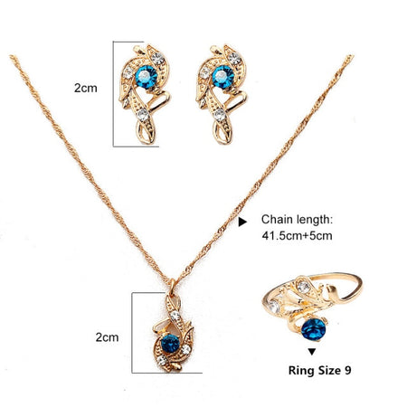 Lady Luck Crystal Pendant Jewelry Gift Set - style 1