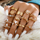 Fulvia 15 pcs Clear Crystal Stone Ring Set