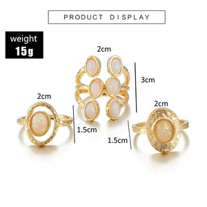 Sempronia Bohemian 3pcs White Opal Stone Ring Set