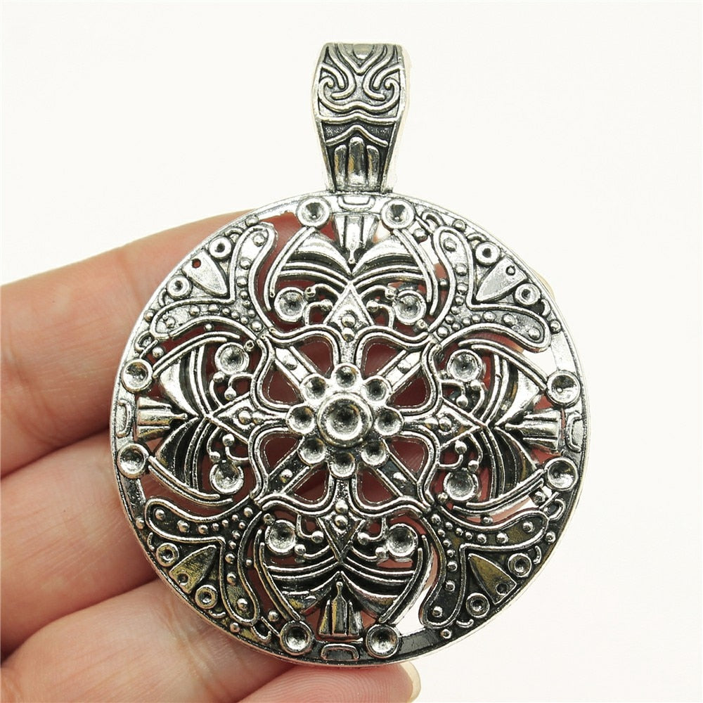 Gypsy Ethnic Hollow Carved Flower Pendant
