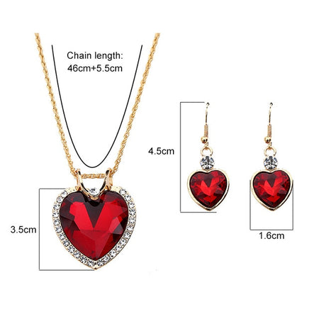 The Cleopatra Heart Shaped Luxury Jewelry Gift - Ruby Style 2