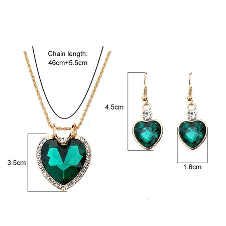 The Cleopatra Heart Shaped Luxury Jewelry Gift - Emerald Style 2