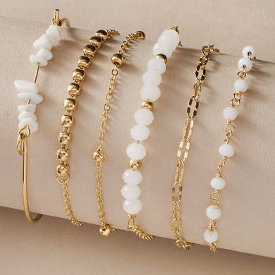 White Natural Stone 6pcs Bracelet Set