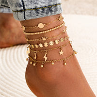 Thunder Strike Multilayer Anklet Set