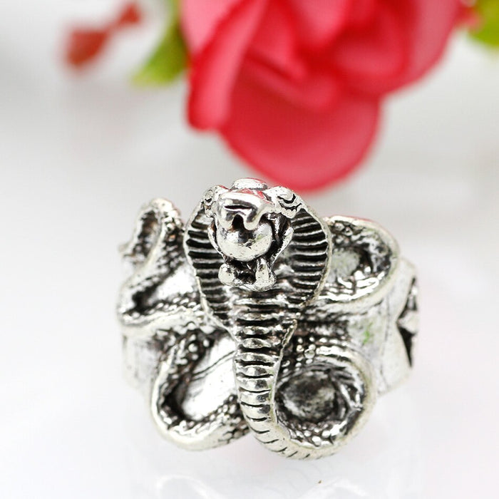 Retro Silver Color Punk Cobra Ring - Size 6
