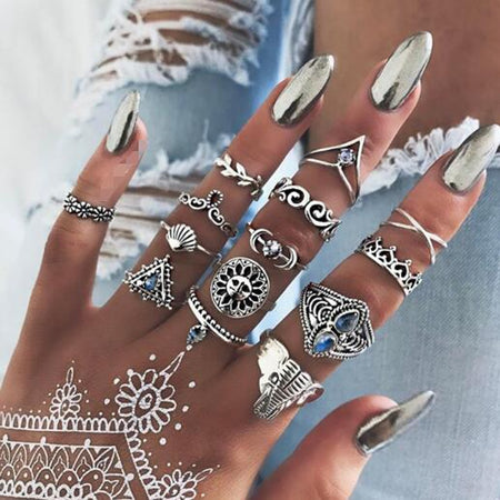 Livia 14pcs Boho Antique Silver Ring Set
